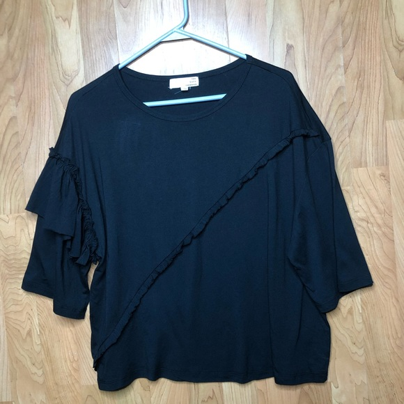 Ten Sixty Sherman Tops - TEN SIXTY SHERMAN BLACK LARGE SS RUFFLE TOP